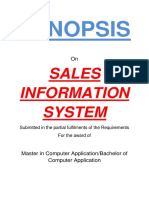 104 Sales Information System Synopsis