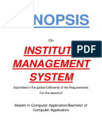 108 Institute Management System Synopsis