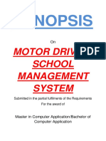 147-Motor Driving School Management System -Synopsis pdf | Databases
