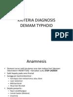Kriteria Diagnosis Demam Typhoid