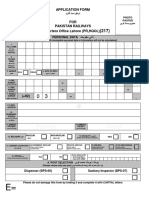 Pakistan Railways Application Form