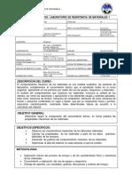 PROGRAMA de Laboratorio de Resistencia de Materiales 1 2-17