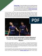 Praveen Dan Melati Mulus Ke Semifinal Indonesia Masters 2018.