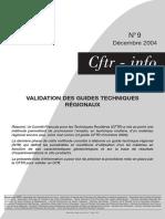 Validation Des Guides Techniques Régionaux - Note