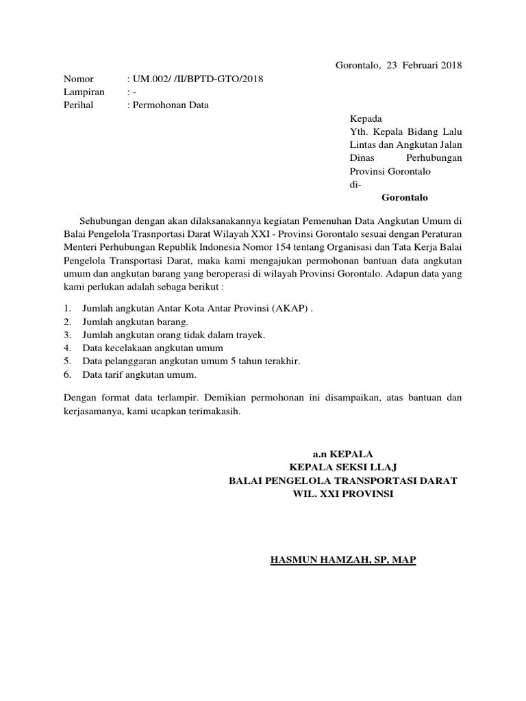 Contoh Surat Permohonan Data