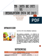 DECRETO-3075-DE-1977-Vs-RESOLUCIÓN-2674-DE-2013