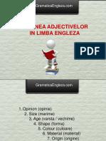 Ordinea Adjectivelor in Engleza