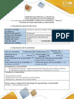 Guía de Actividades y Rúbrica de Evaluación - Tarea 2 - Creación de Texto Descriptivo, Autorretrato (2)