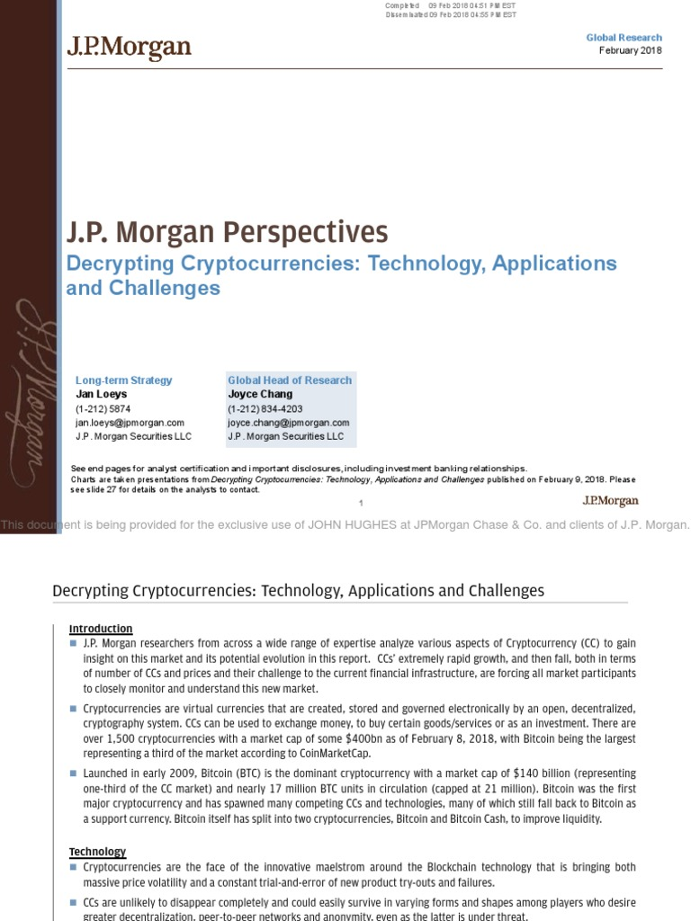 JPM - Decrypting Cryptocurrencies | Cryptocurrency | Bitcoin