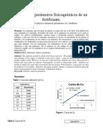 Análisis de Parámetros Fisicoquímicos de Un Fertilizante