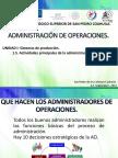Actividades Principales de La Administración de Operaciones.