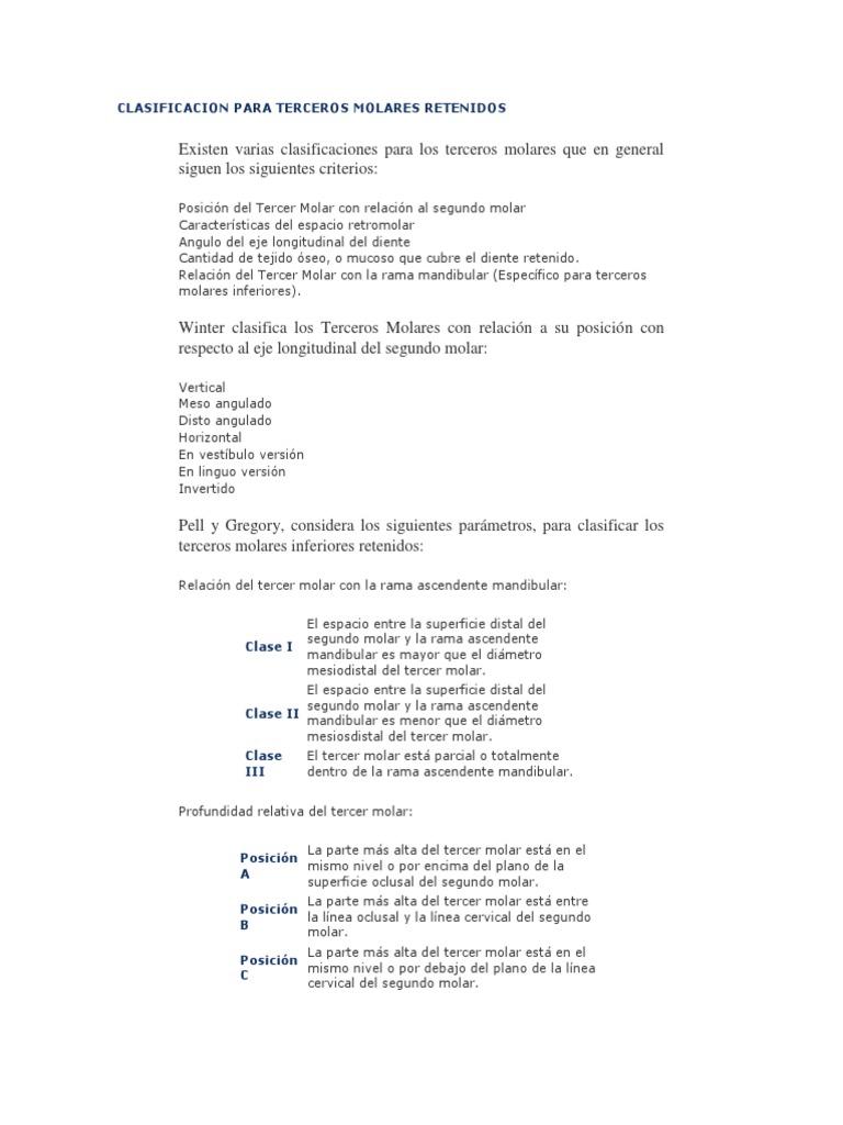 74190857 Clasificacion Para Terceros Molares Retenidos