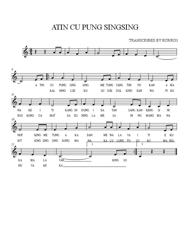 Singsing notes atin with cu lyrics pung The Real