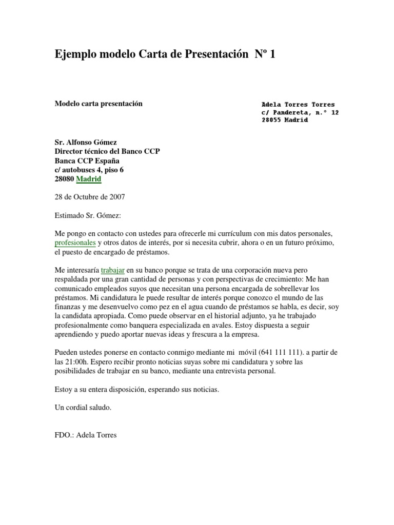Carta De Presentacion Trabajo Banca Modelos de carta de presentación ...