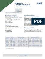 High Performance Austenitic Datasheet