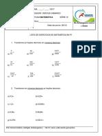 Lista de Matemática Profº Vinícius 6º Ano p1 IV Bim