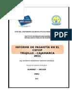 INFORME PASANTIA CEFOP = LA LIBERTAD 2011