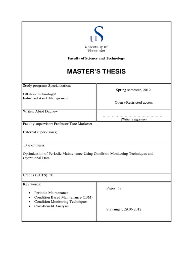Master thesis reliability