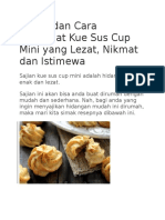 Resep Dan Cara Membuat Kue Sus Cup Mini Yang Lezat