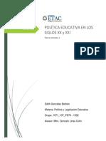 POLÍTICA EDUCATIVA EN LOS SIGLOS XX y XXI