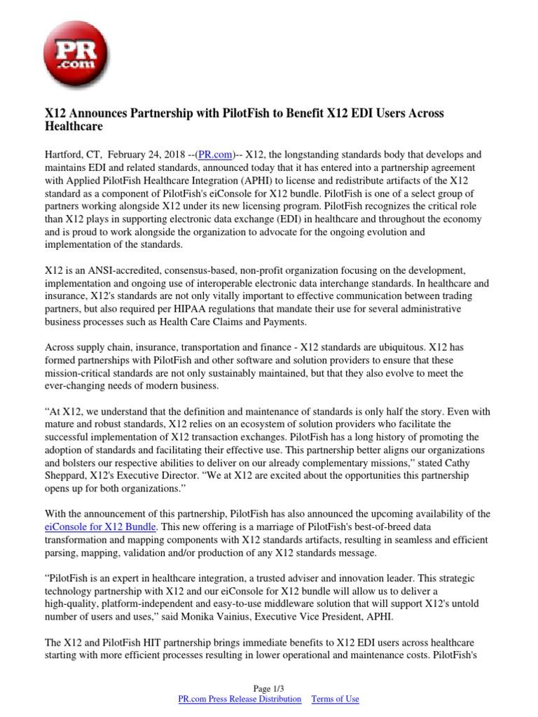 X12 Announces Partnership with PilotFish to Benefit X12 EDI