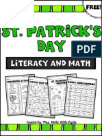 Freest Patricks Day Literacy and Math Prin Tables