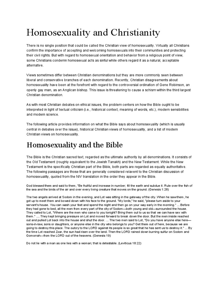 Different views on homosexuality in christianity who or what is god