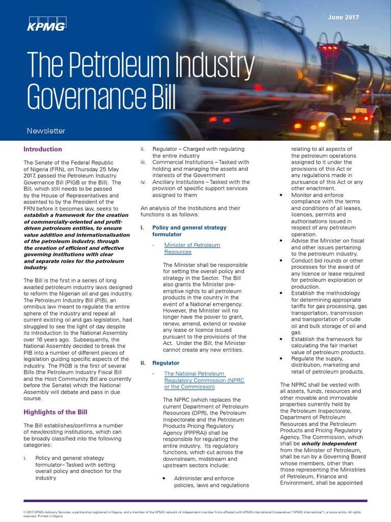 Kpmg Newsletter on the Petroleum Industry Governance Bill