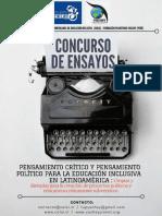 Convocatoria. Concurso de Ensayos. Pensamiento Crítico y Político Para La Educación Inclusiva. CELEI-FUPYA