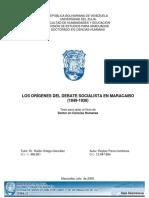 Los Origenes Del Debate Socialista en Maracaibo Parra Reyber