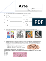 Avaliação Diagnostica de Arte 6º Ano