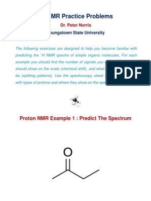 H Nmr Practice Problems Youngstown State University