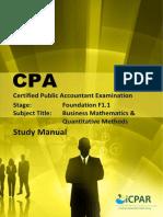 Cpa f1.1 - Business Mathematics & Quantitative Methods - Study Manual
