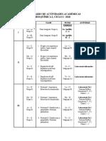 Calendario de Actividades Académicas i 2018