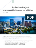 Affordability Review Project - Inventory of City Programs and Initatives March 2017
