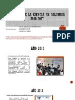 Avances de La Ciencia en Colombia 2010 2017 Grupo Diana Erizabeth Duban