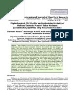 Phytochemical, TLC Profile, and Antioxidant Activity of Malinau Endemic Plant of Tabar Kedayan (Aristolochia papilifolia Ding Hou) Root Fractions