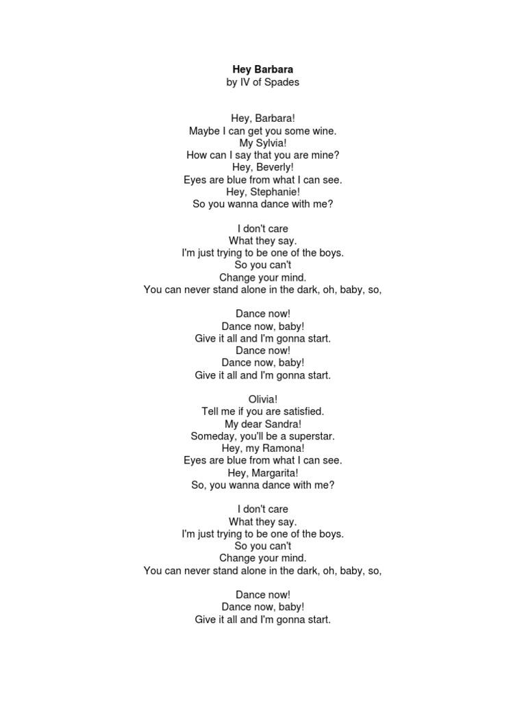 Hey Barbara by IV of Spades Lyrics