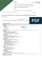 Credit Card Specialist Resume Example (J.P Morgan Chase Bank) - San Antonio, Texas