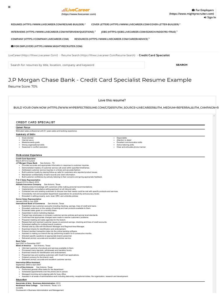 credit card specialist resume example jp morgan chase