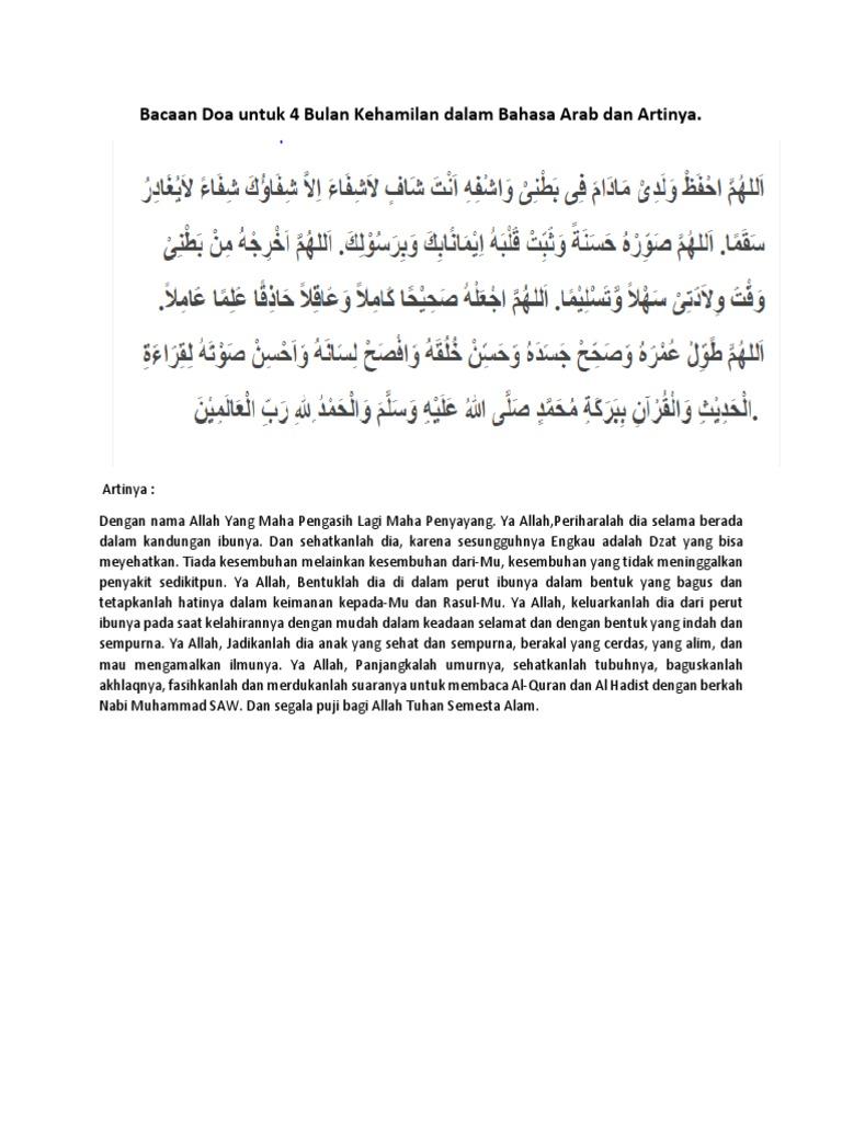 Bacaan Doa Untuk 4 Bulan Kehamilan Dalam Bahasa Arab Dan Artinya