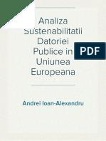 Analiza Sustenabilitatii Datoriei Publice in Uniunea Europeana