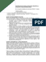 Tarea 5 de Análisis de Medicamentos Referente a Especificaciones de Equipos y Equipos de Datos