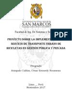 Proyecto Sobre La Implementación Del Servicio de Transporte Urbano de Bicicletas en Gestión Pública y Privada