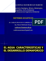 1.- SISTEMAS ACUATICOS. El Agua Caracteristicas. Ciclo Hidrologico