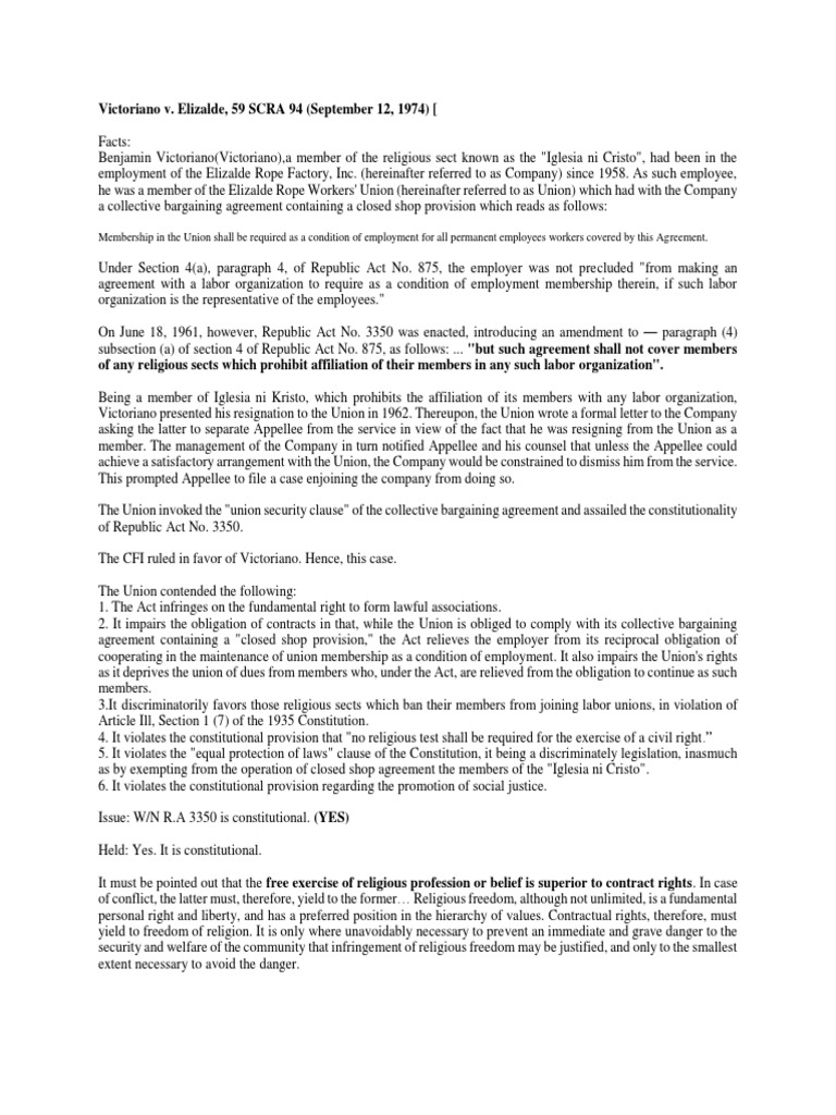 Victoriano V Elizalde Free Exercise Clause Collective Bargaining