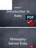 Ruby Course - Lesson 1 - Introduction to Ruby
