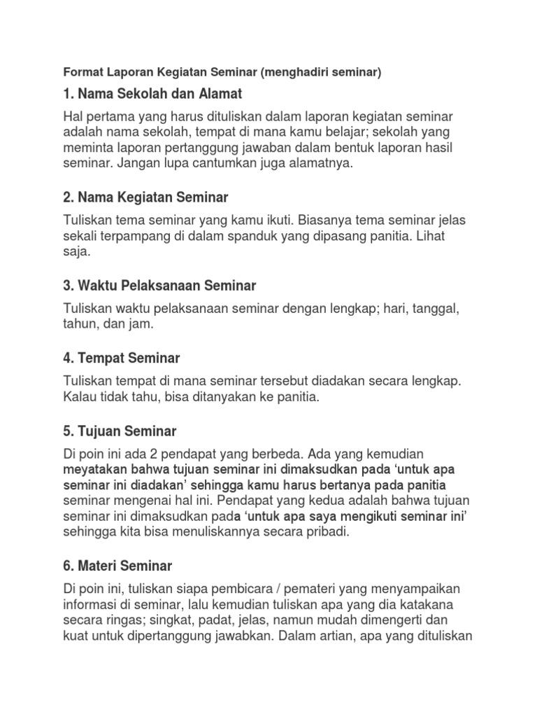Format Laporan Kegiatan Seminar