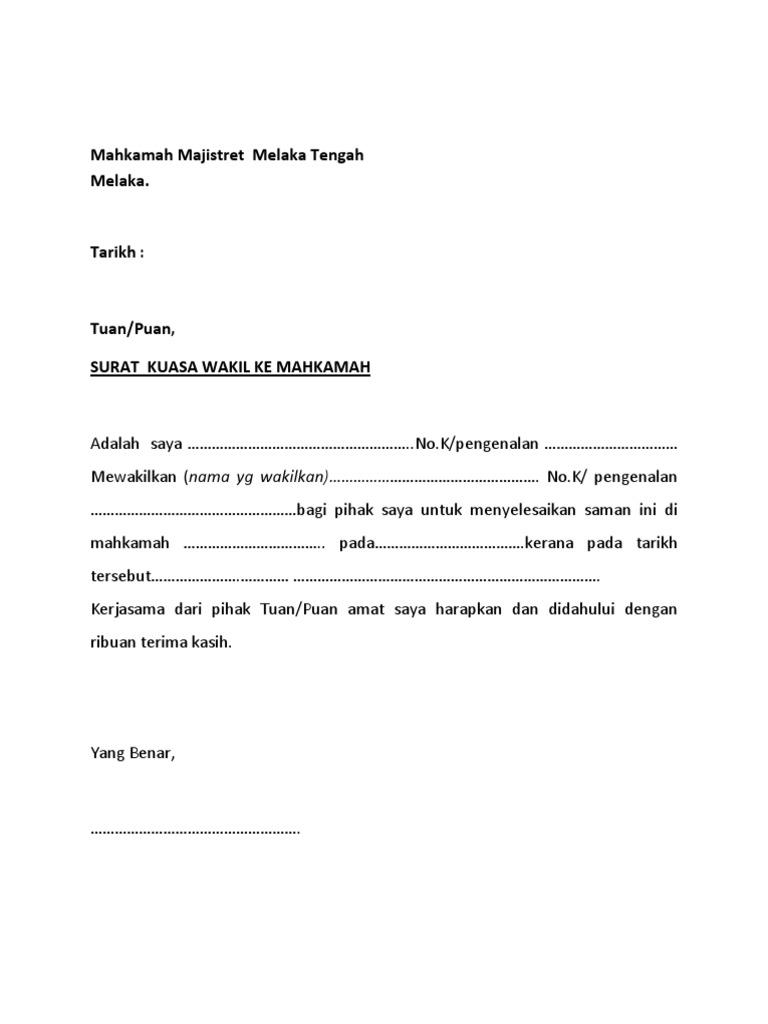 Surat Wakil Ke Mahkamah