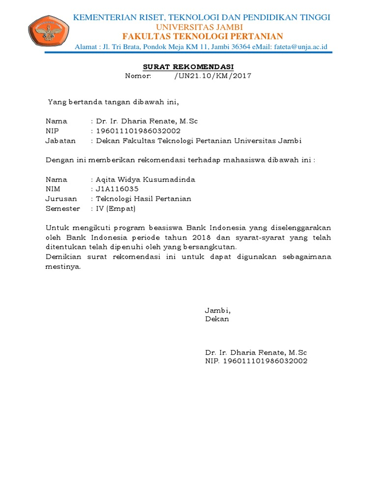 Surat Rekomendasi Beasiswadocx